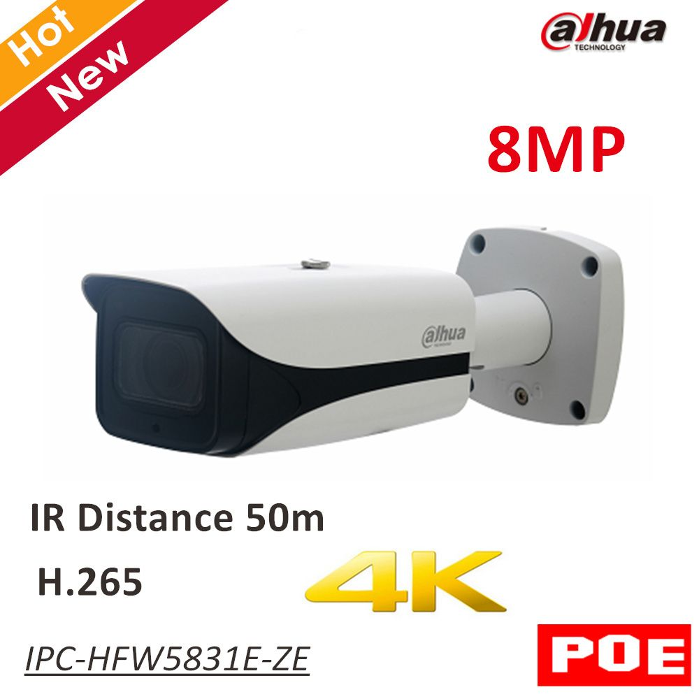 8MP Dahua POE IP Camera IPC-HFW5831E-ZE IR Bullet Network IP Camera H.265 Outdoor IP67 IR distance 50m 2.7-12mm motorized lens