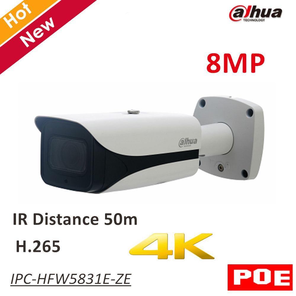 8MP Dahua POE IP Camera IPC-HFW5831E-ZE IR Bullet Network IP Camera H.265 Outdoor IP67 IR distance 50m 2.7-12mm motorized lens