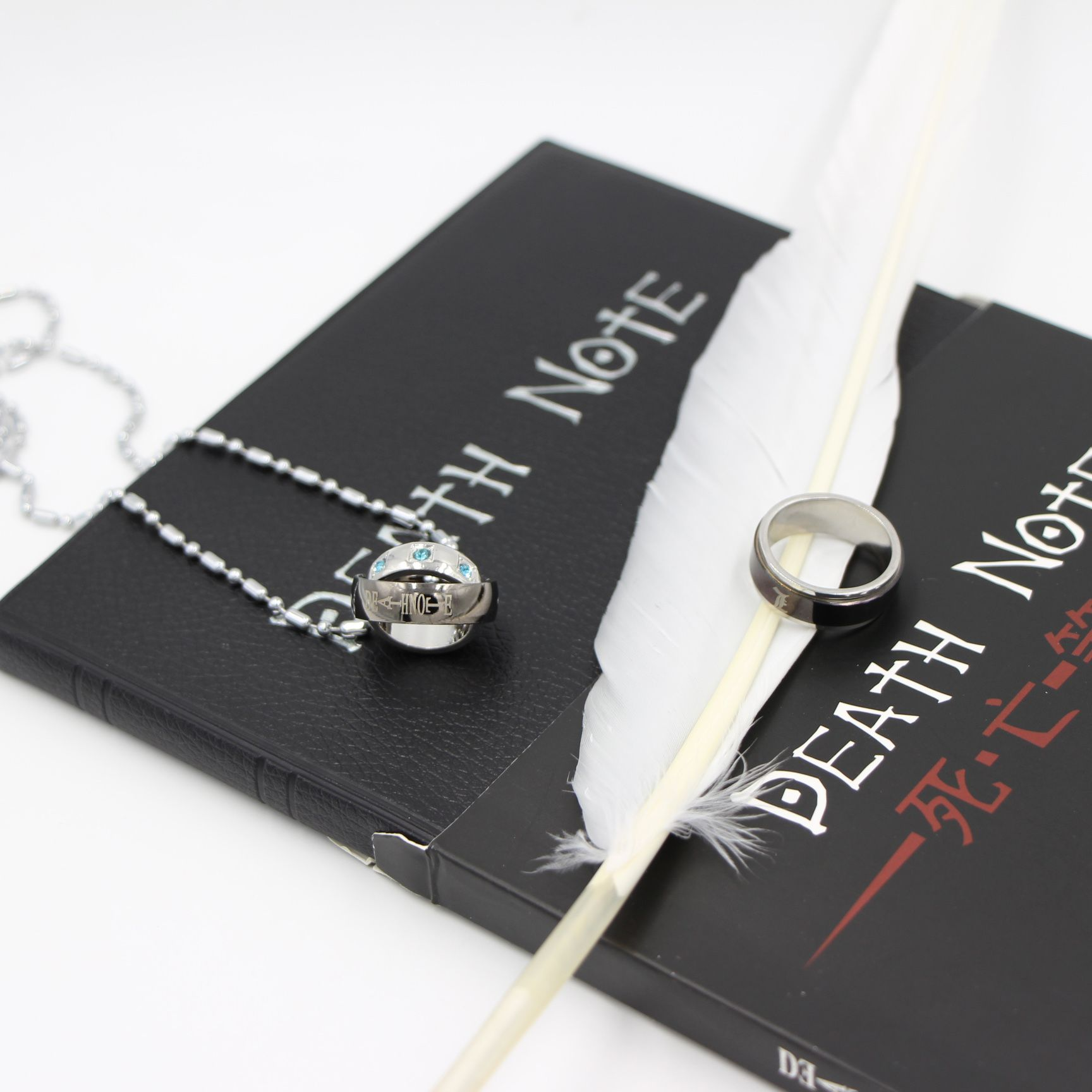 Cosplay Ryuk Cover Note Book Death Note <font><b>Notebook</b></font> & Feather Pen & Necklace& Ring Stationery Set Writing Journal Death Note