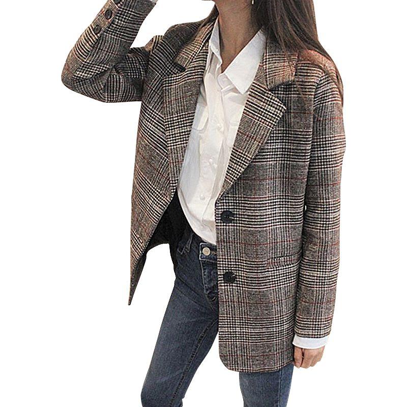 Для женщин решетки шерстяной пиджак осень-зима Толстая куртка костюм Пиджаки для женщин с длинным рукавом офисные Пальто Повседневная курт...