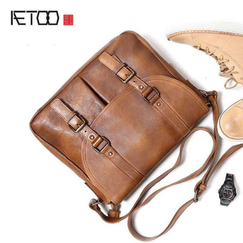 AETOOHandmade cowhide retro postman bag personality single shoulder bag male bag head layer cowhide Messenger bag leather casual