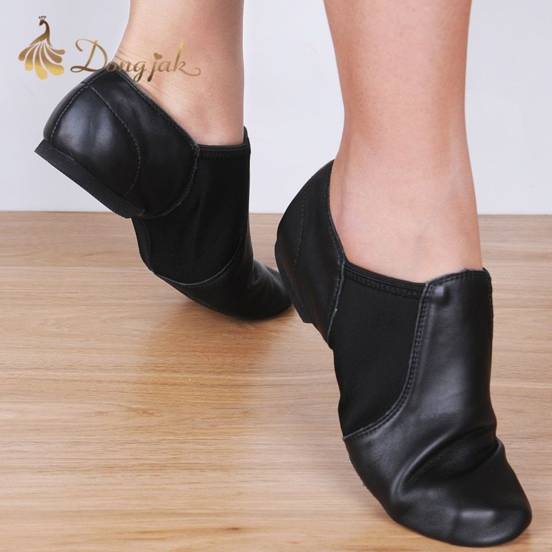Dongjak Genuine Leather Stretch Jazz Latin Dance Shoes Salsa For Women Jazz Ballet Shoes Teachers's Dance Sandals Excercise Shoe