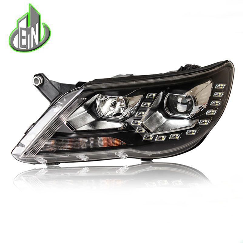 EN Car Style Head Lamp Case For VW Tiguan headlights 2010 2011 2012 LED Headlight DRL HID KIT Bi-Xenon Lens low beam Accessories