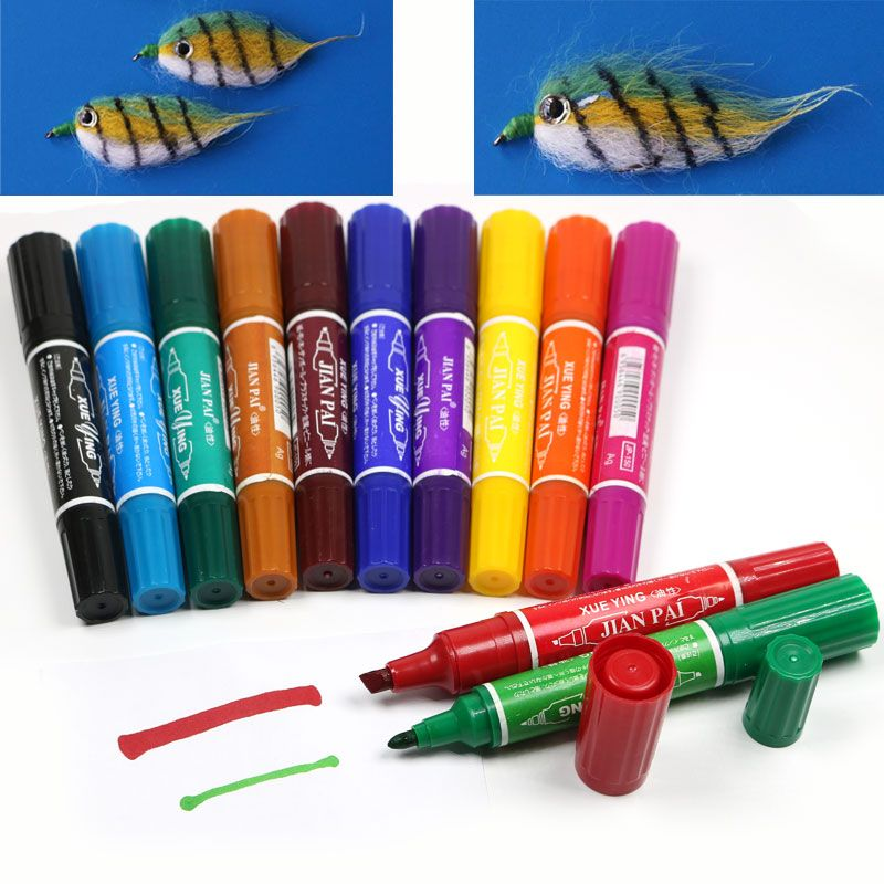 12 <font><b>Colors</b></font> Fly Tying Fishing Permanent Waterproof Twin Markers Lure Flies Fishing Marker Pen