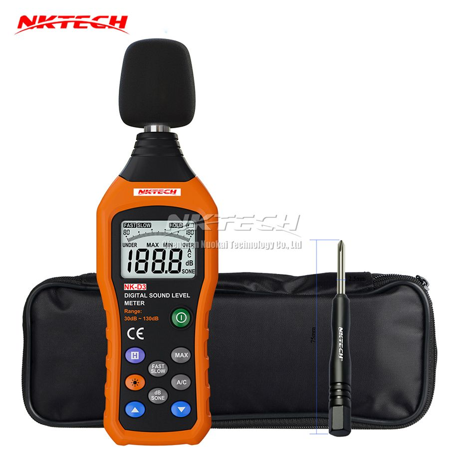 NKTECH NK-D3 Digital Sound Level Noise Meter Logger Tester Audio Decibel Monitor 30-130dB Accuracy 1.5dB Fast/Slow Selection