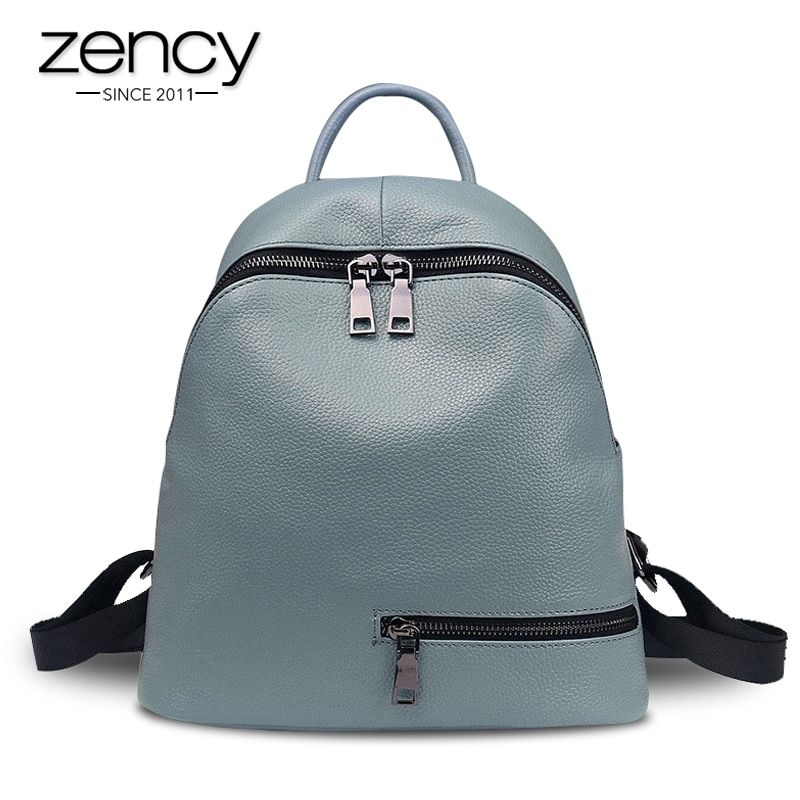 2018 Fashion Blue 100% Genuine Leather Women Backpack for Teenage Girls Ladies Pocket Preppy Schoolbags Female Mochila Escolar