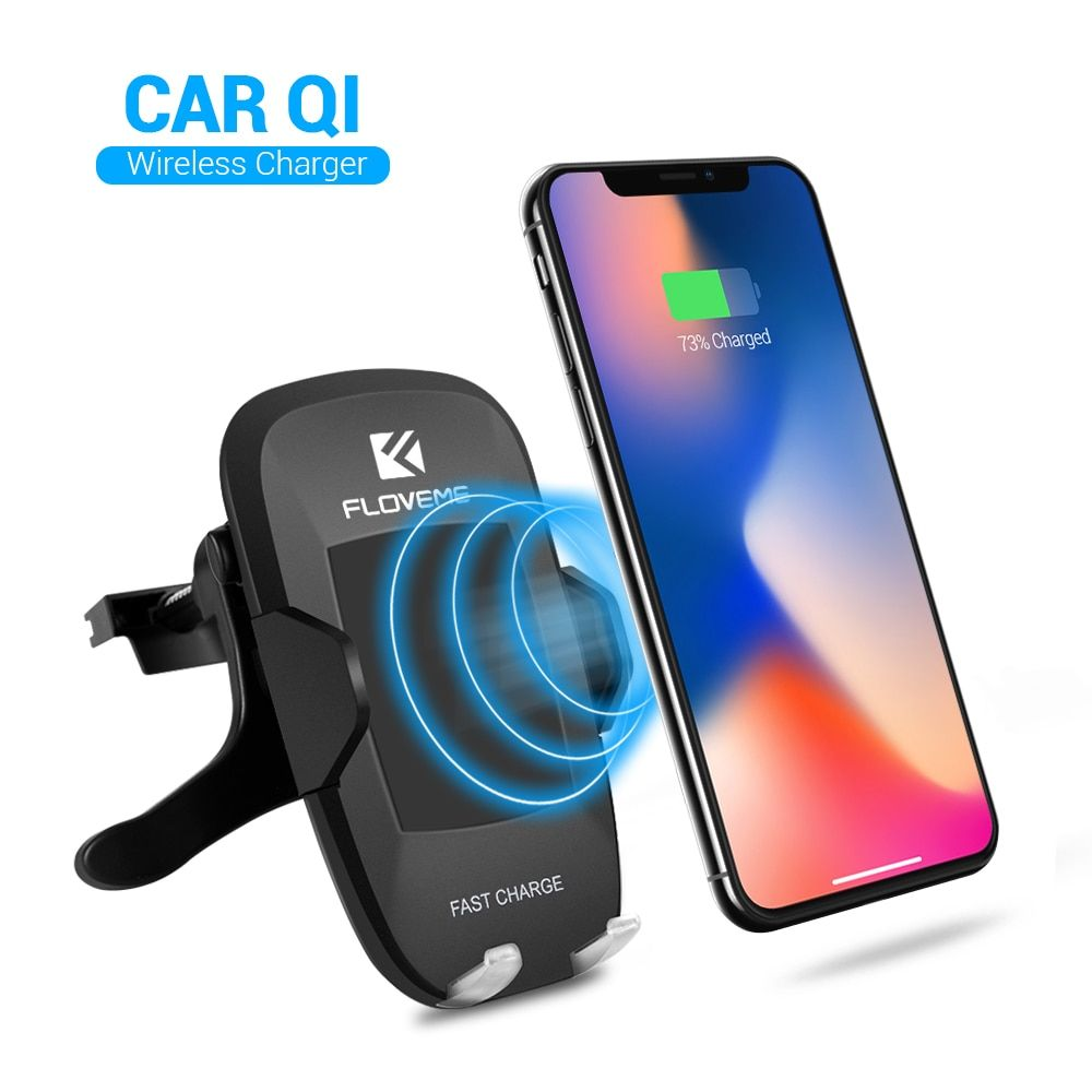 FLOVEME 10W Qi Fast Car Charging Dock Phone Chargers Air Vent Car Phone Holder Wireless Charger For Samsung S8 iPhone 8 8 Plus