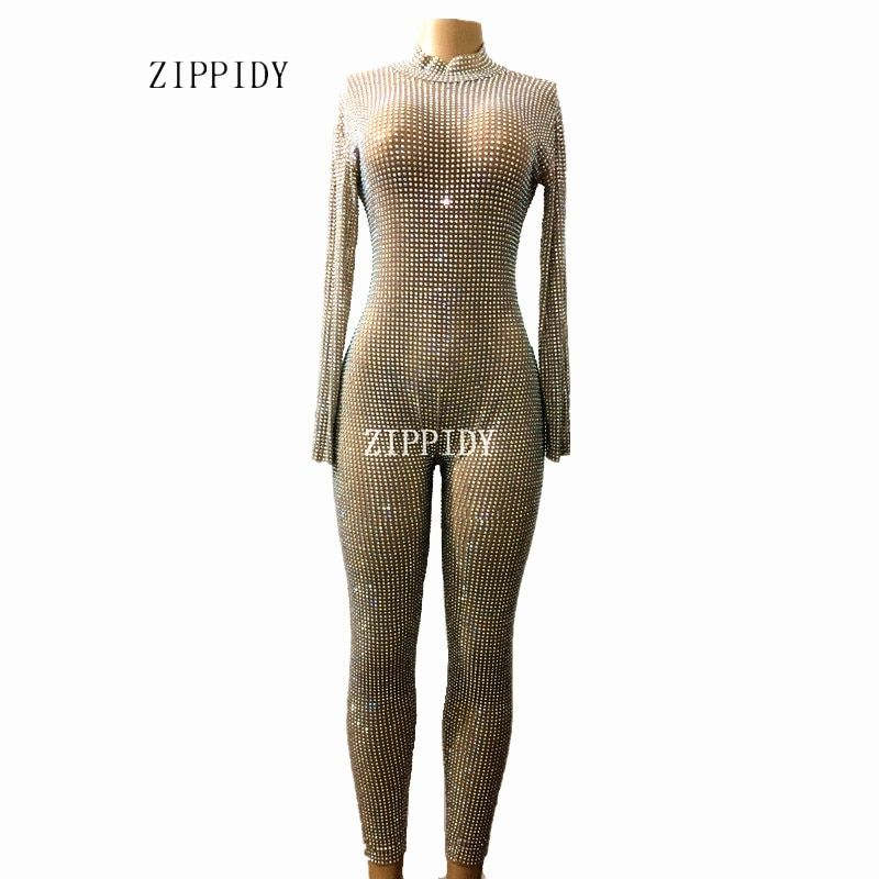 Sparkly Full AB Stones Mesh Jumpsuit Prom Luxury Bodysuit Outfit Party Celebrate Glisten Leggings Costume Perspetive Rompers