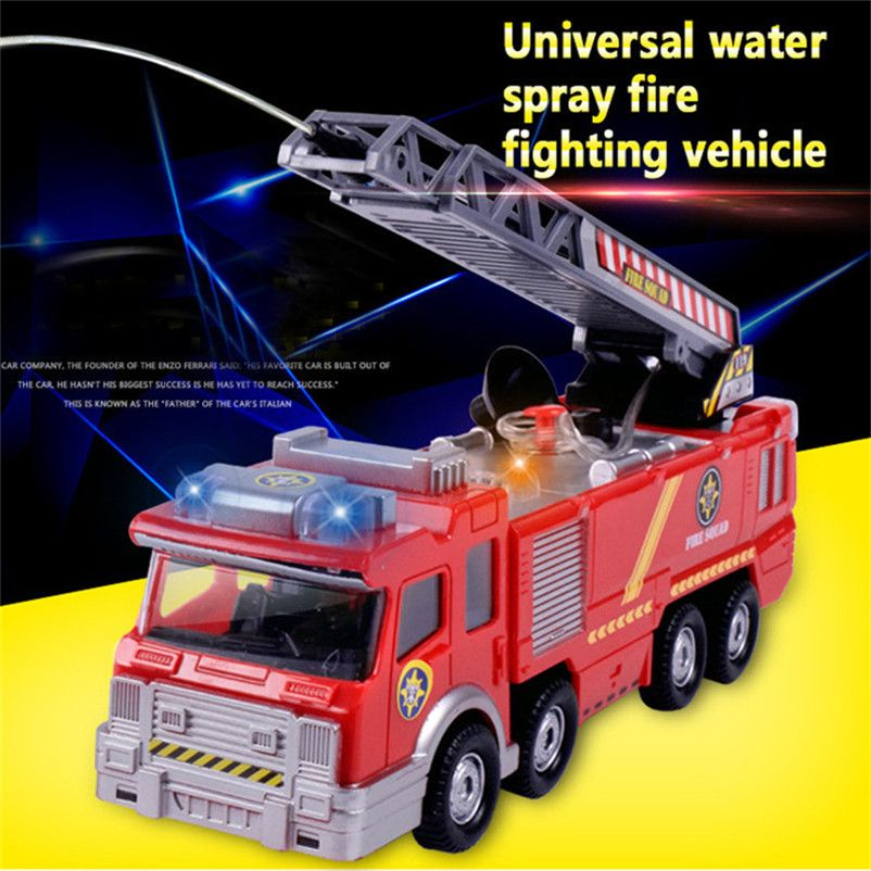 Abbyfrank Electric Fire Truck Water Spray Car Light Musical Fire Fighting Truck Diecast Sprinkler Fire <font><b>Engines</b></font> Toys For Children