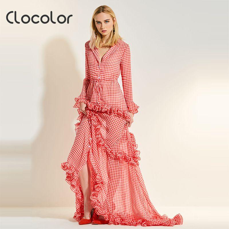 Clocolor women dress Petal floor falbala turn down collar pink plaid v neck plus size ruffle 2018 fashion sweet women maxi dress