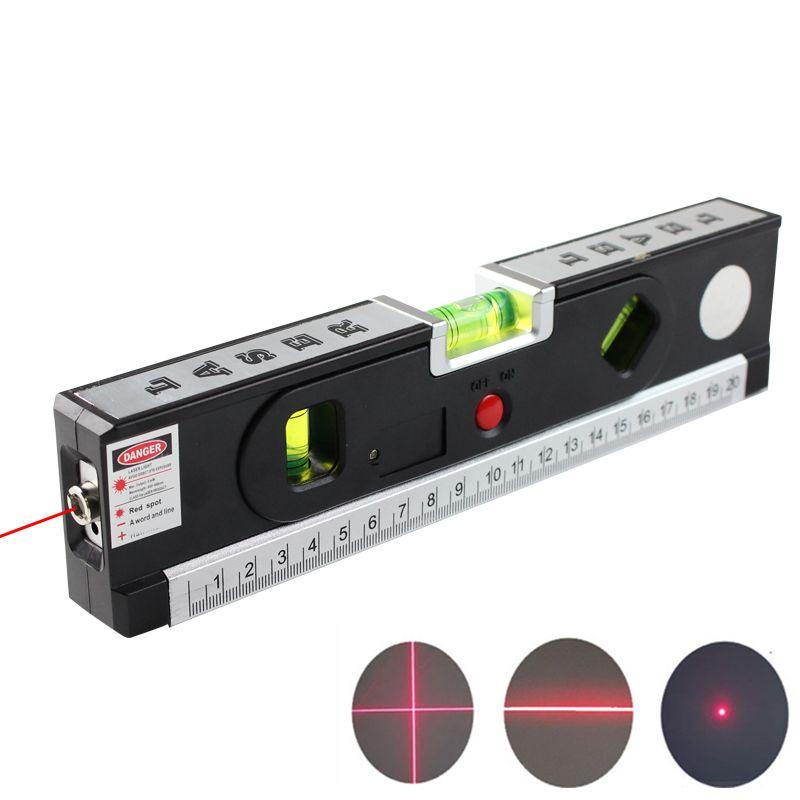 FJS Niveau Laser Niveau Laser Horizon Croix Vertical Lumière Laser Avec Ruban À Mesurer Marquage Ligne Outils De Construction 4 Dans 1
