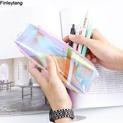 Kawaii Transparent Glitter Pencil Case Stationery Bags Creative Fashion Pvc Pencil Bag School Pencil Box Supplies Student Gift