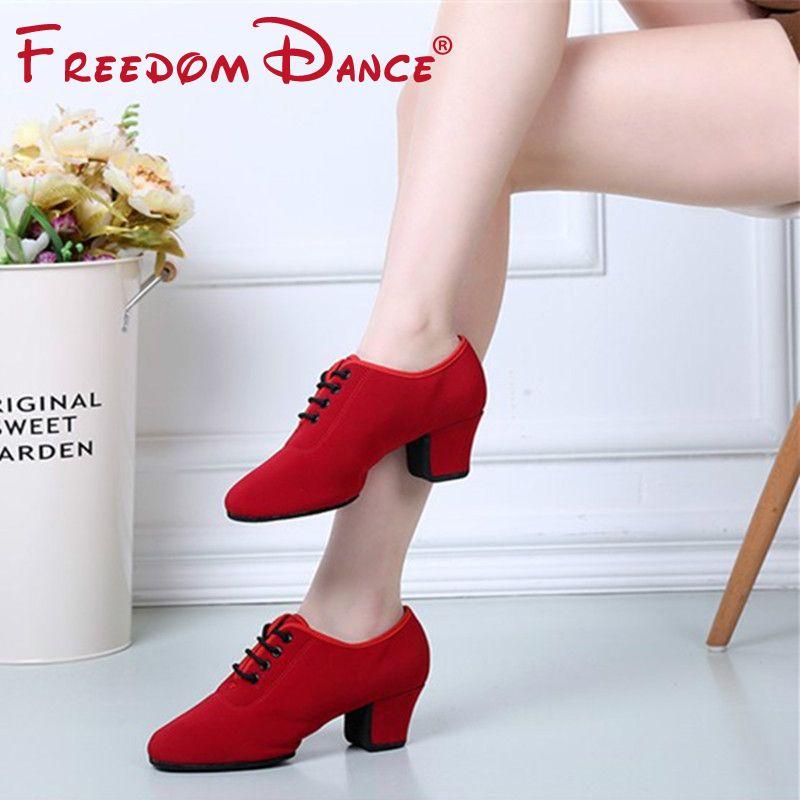 Chaussures Dancesport chaussures de danse latine Oxford pour femmes dames chaussures d'enseignement T1-b filles valse Tango Foxtrot chaussure de salon talon 5cm