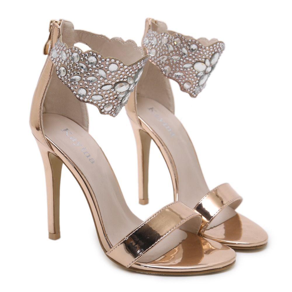 Flock Crystal Women Pumps Fashion Zipper High Heels Wedding Lady Shoes Thin Heels Chaussure Femme Talon sandals women