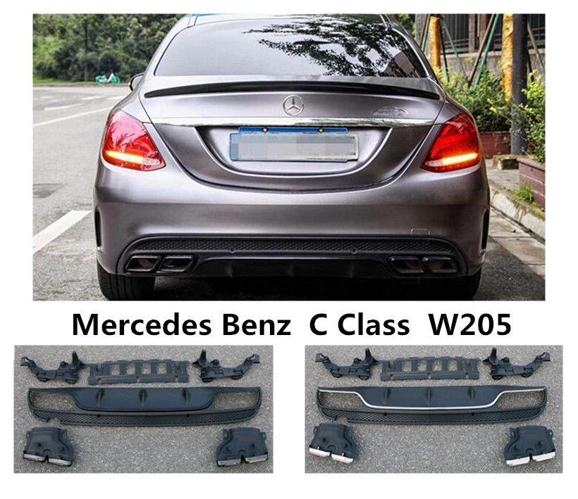 Für Mercedes-Benz C Klasse W205 C180 C200 C250 C300 2015-2019 Hinten Lip Spoiler & Exhause Hohe qualität PP Stoßstange Diffusor