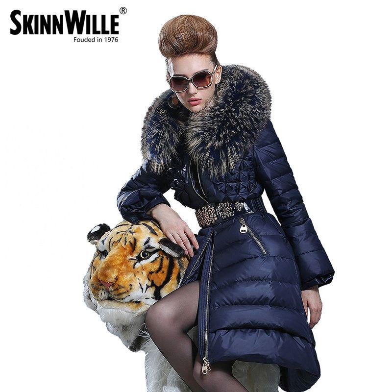 2016 medio-largo abajo abrigo moda femenina de alta calidad de lujo collar grande engrosamiento de la piel