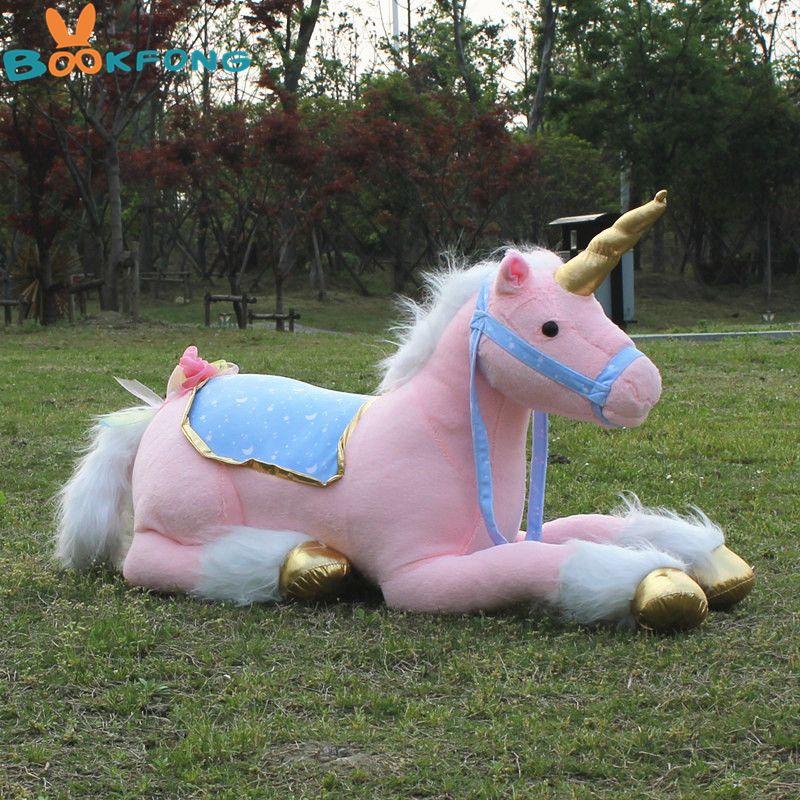large stuffed animals lying unicorn plush toy pink doll high quality good gift Photography props