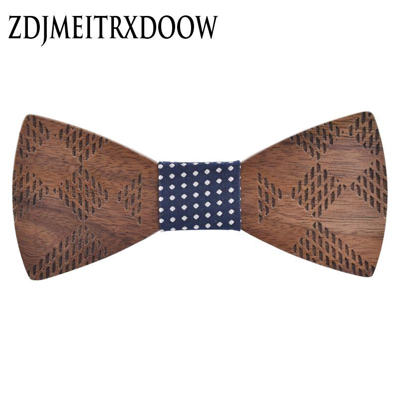 R. xin 2017 alta calidad geométrica talla de madera pajarita Houten strik BowTie boda novios Moda hombre corbata gravata