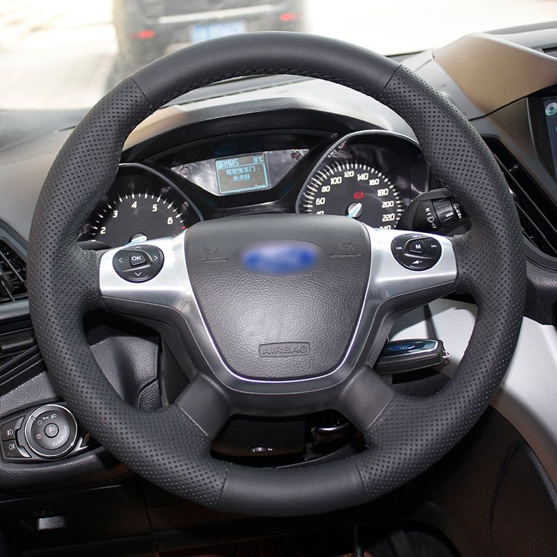 BANNIS Noir Cuir Artificiel BRICOLAGE à La Main Couvercle Du Volant cousu pour Ford Focus 3 KUGA Évasion 2012 2013