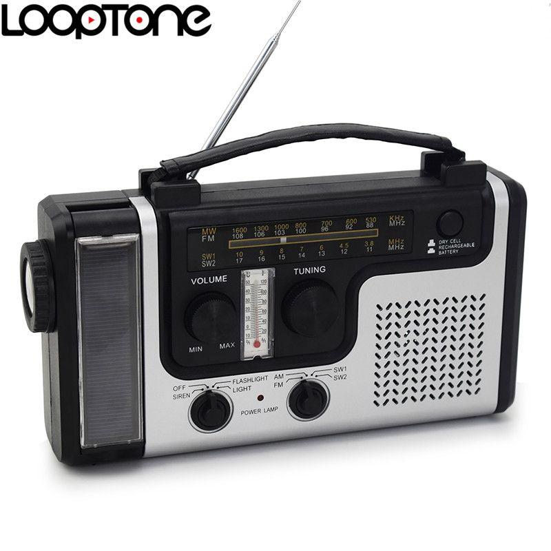 LoopTone En Plein Air Portable Solaire FM/AM Radio Haut-Parleur Intégré Soutien D'urgence Flashligh Lampe de Table thermomètre & Téléphone chargeur