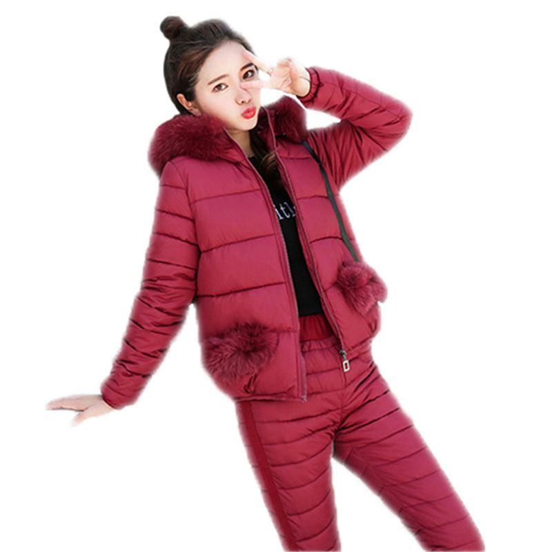 Women Winter Down Cotton Jacket Suit Female Fashion Hooded Fur Collar Pockets Warm Two piece Set Slim Outerwear Pants Coat E36