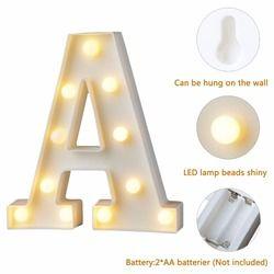 Plástico blanco letra LED noche luz letrero alfabeto lámparas inicio Club al aire libre pared interior decoración Día de San Valentín regalo