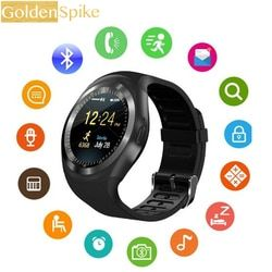 Y1 Smartwatch Bluetooth Smart Watch Reloj Relogio 2G GSM SIM Aplikasi Sync Mp3 untuk Apple iPhone Xiaomi Android Ponsel PK DZ09 KW18