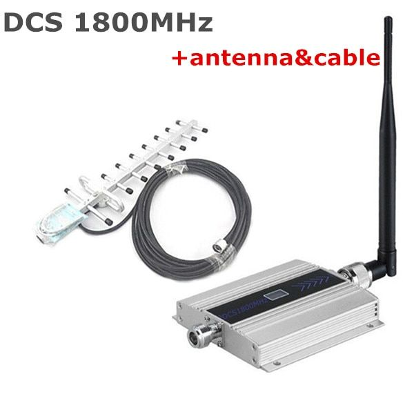Mini LCD DCS signal booster 1800mhz DCS 4G signal repeater,cell phone signal booster amplifier with 13dbi 9 units yagi antenna