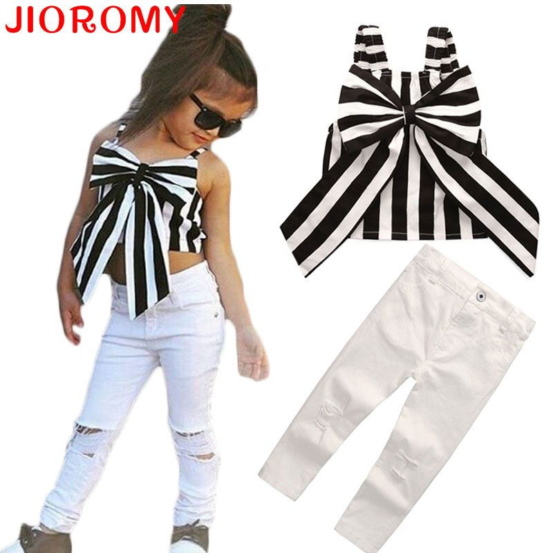 2017 Hot Girls Set Tops and Pants 2 Pieces Summer <font><b>Stripes</b></font> Ribbon Short Sling Fashion Hole Pants European Style Children's Suits