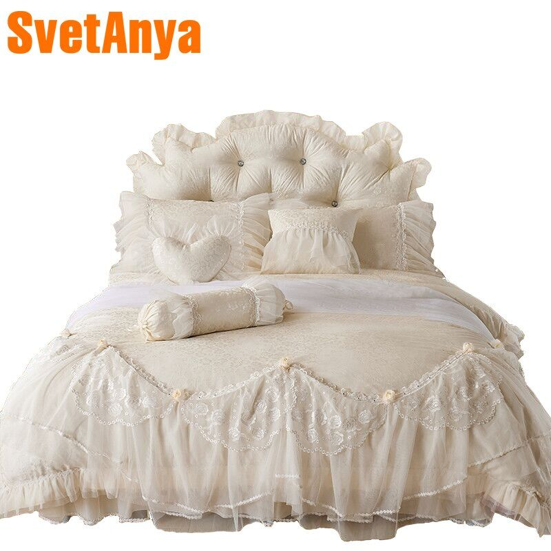 Svetanya luxury embroidery lace bedding sets 4pcs 7pcs jacquard cotton Bedlinen Queen King duvet cover+coverlet+pillowcases