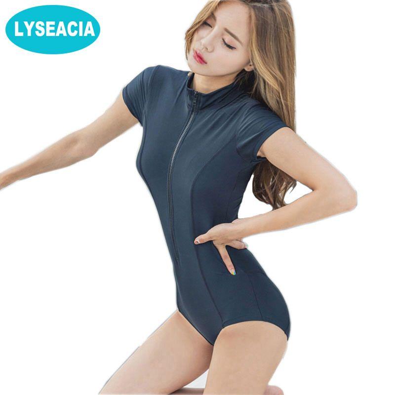 LYSEACIA Schwarz Sexy Frauen Bademode One Piece Anzüge Beach Wear Push Up Badeanzug Reißverschluss Neue Kurzarm LYCRA Schwimmen Anzug