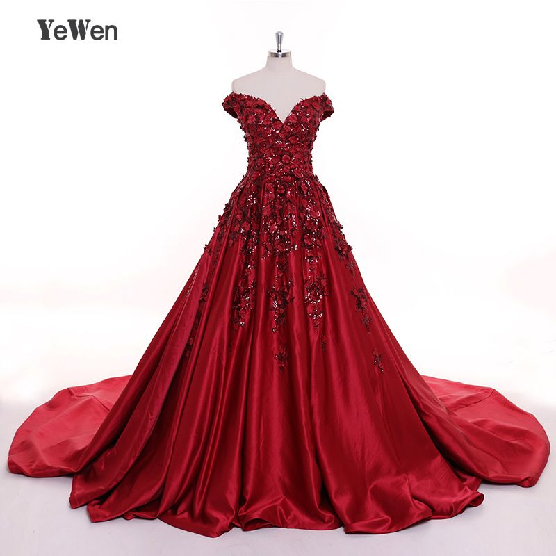 Sexy Burgundy Long Eveing Dresses 2018 Flower Dubai Party Prom Formal Dress Women Elegan Vestido De Festa Plus Size YeWen