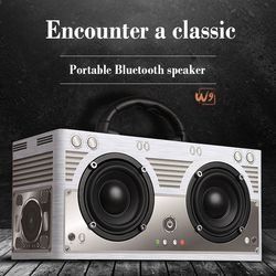 Retro High Fidelity HiFi double horn woody Bluetooth speaker box hand-held multi-function outdoor domestic bass Stage speaker
