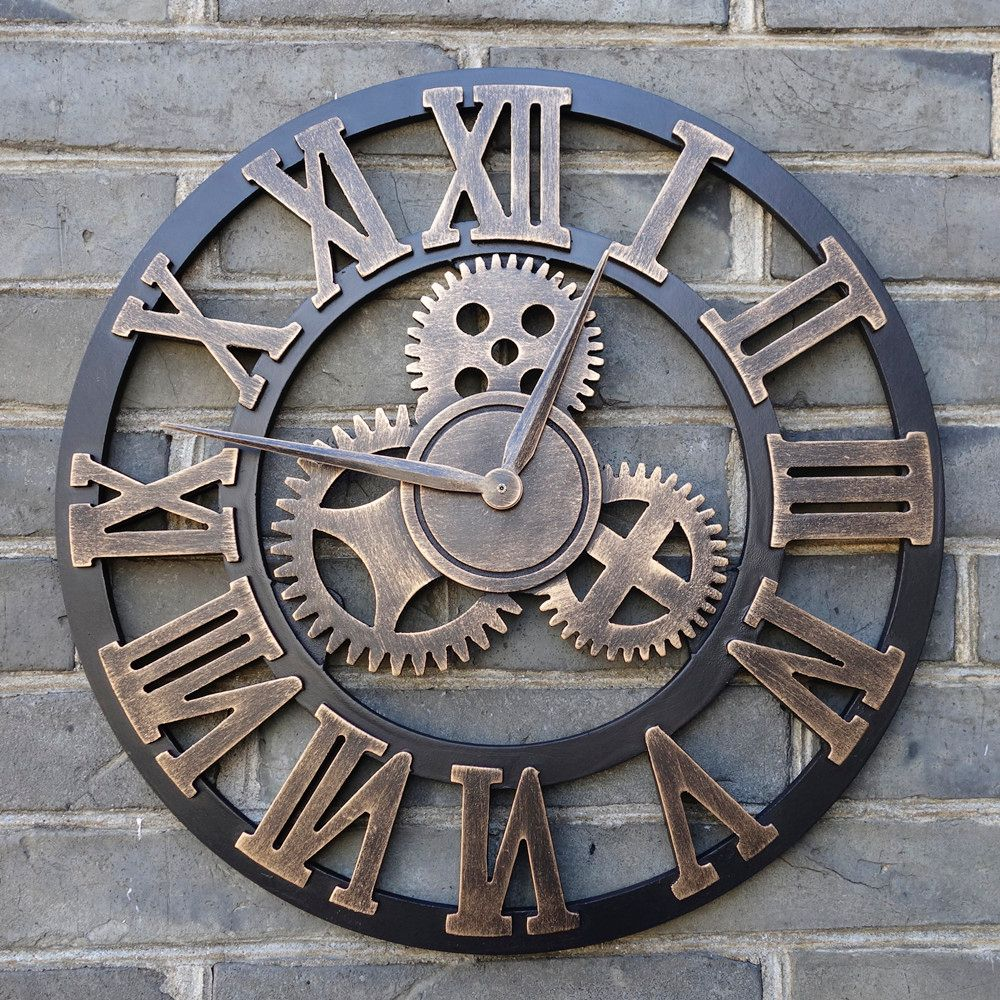 Handmade Oversized 3D retro rustic decorative luxury art big gear <font><b>wooden</b></font> vintage large wall clock on the wall for gift 20 inches