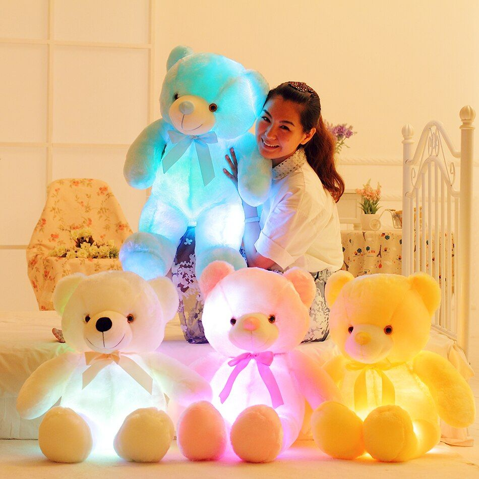 50cm Creative Light Up LED Teddy Bear Stuffed Animals Plush Toy Colorful Glowing Teddy Bear Christmas Gift for <font><b>Kids</b></font> Pillow Toy