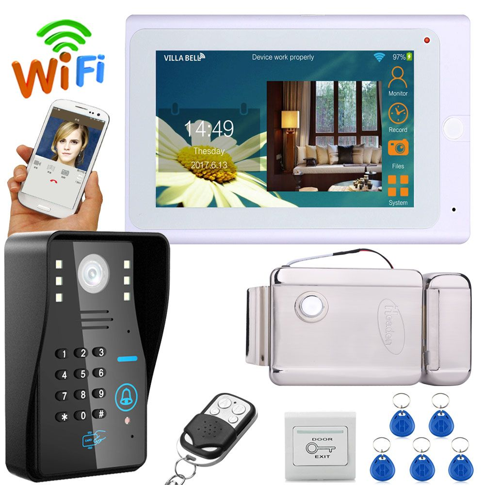 YobangSecurity Video Intercom 7 Inch LCD Wifi Wireless Video Doorbell Phone Camera Monitor System With Door Lock Power Supply