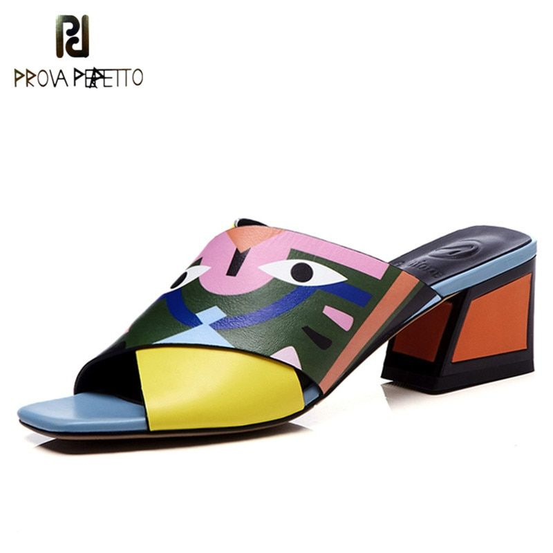 Prova Perfetto Fashion Peep Toe Summer Slippers Women Square Heel Yellow Green Slippers Real Leather High Heels Women Sandals