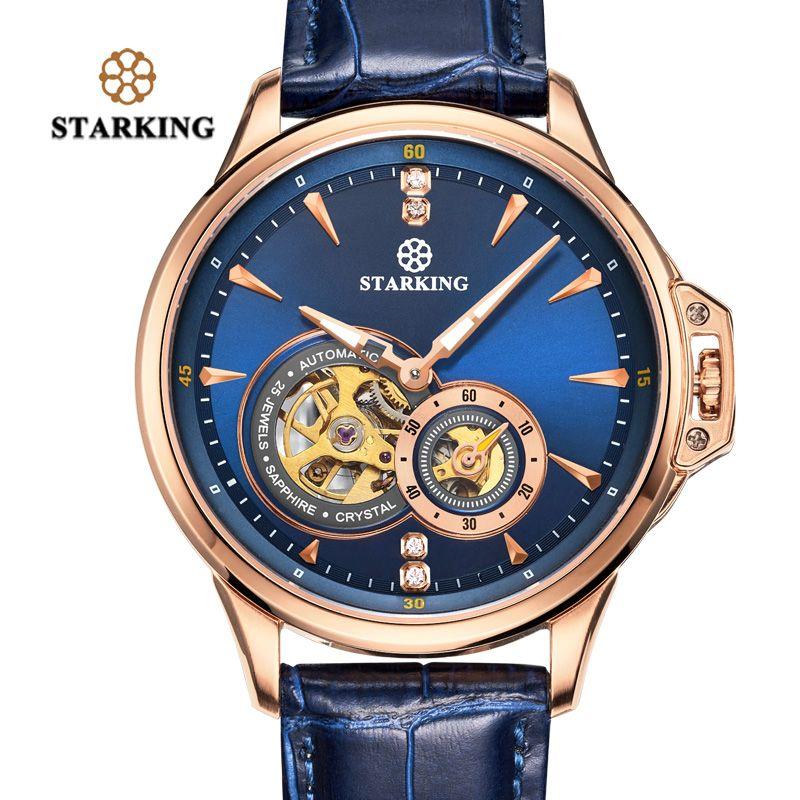 STARKING Retro Blau Herren Uhren Top Brand Luxus Mode Männlichen Armbanduhr Sapphire Automatische Mechanische Uhr Relogio Masculino