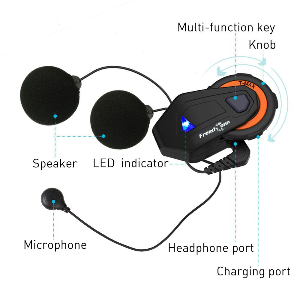 Freedconn 2 pcs T-MAX motorcycle helmet bluetooth intercom 8 riders group waterproof intercomunicador moto BT 4.1 Interphone FM