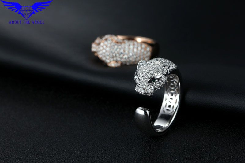 14K White Moissanite Diamond Ring/Fashion Mens Ring