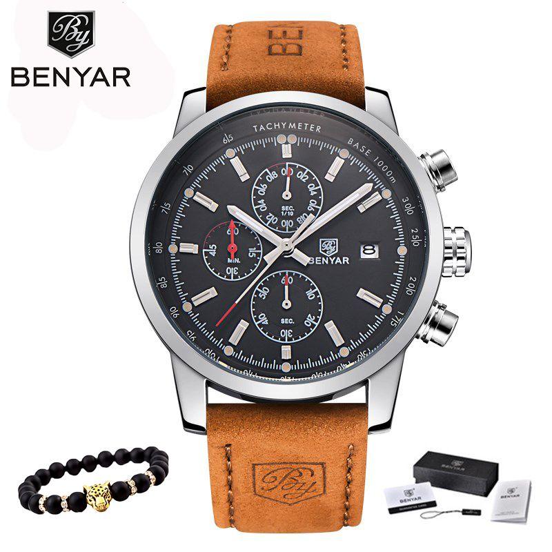 2018 BENYAR Watches <font><b>Men</b></font> Luxury Brand Quartz Watch Fashion Chronograph Watch Reloj Hombre Sport Clock Male hour relogio Masculino