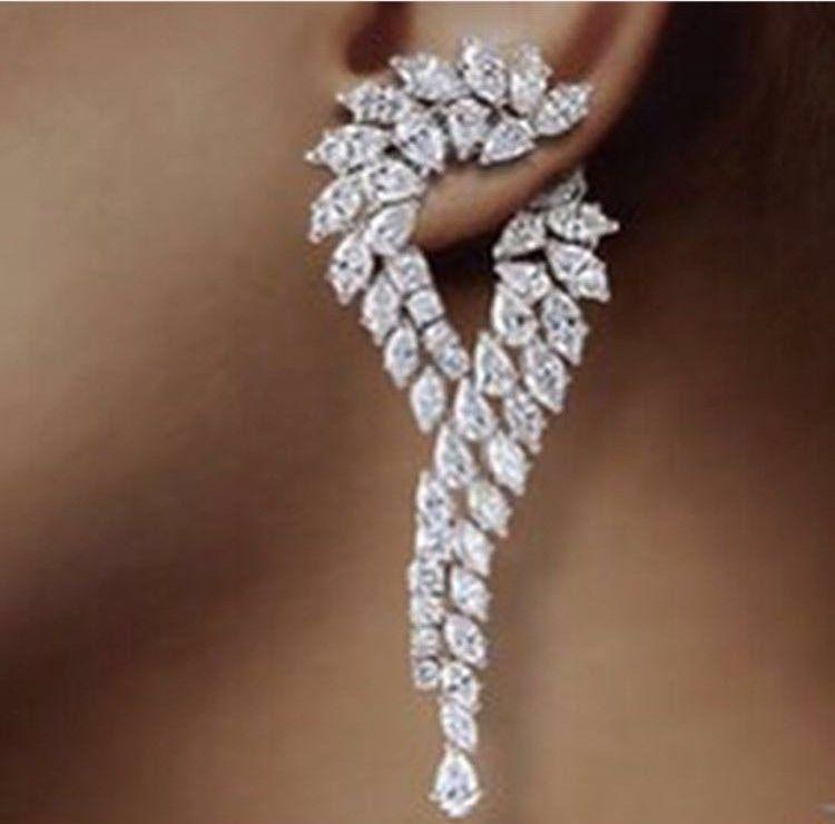 Waterdrop Earrings Brinco Zirconia Luxury Cubic Zirconia Cz  Unique Curve Big Long Fashion Party Wedding Earrings For Women