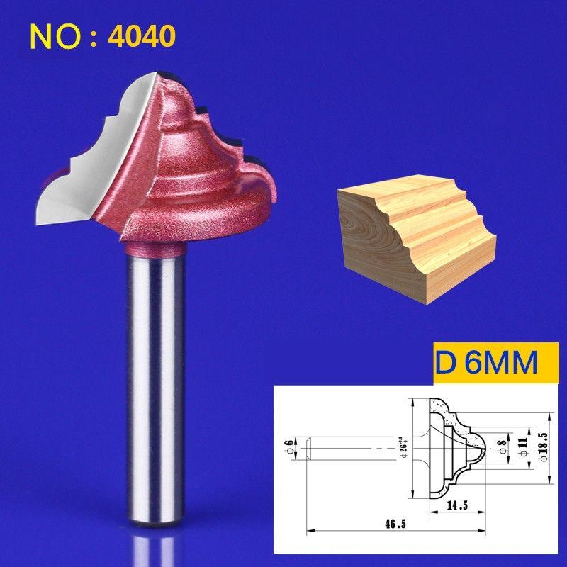 1 stücke 6*26mm Brust/Tür Graviermaschine Fräsen Messer, Holz Fräser ogee bits 3D spitze Holzbearbeitung fräser NO: 4040