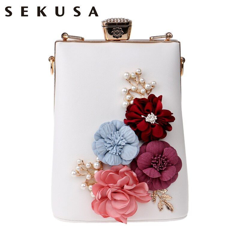 SEKUSA New Arrival Appliques Women Clutch Flower Beaded Evening Bags Chain Shoulder Messenger Handbags For Party Evening Bag