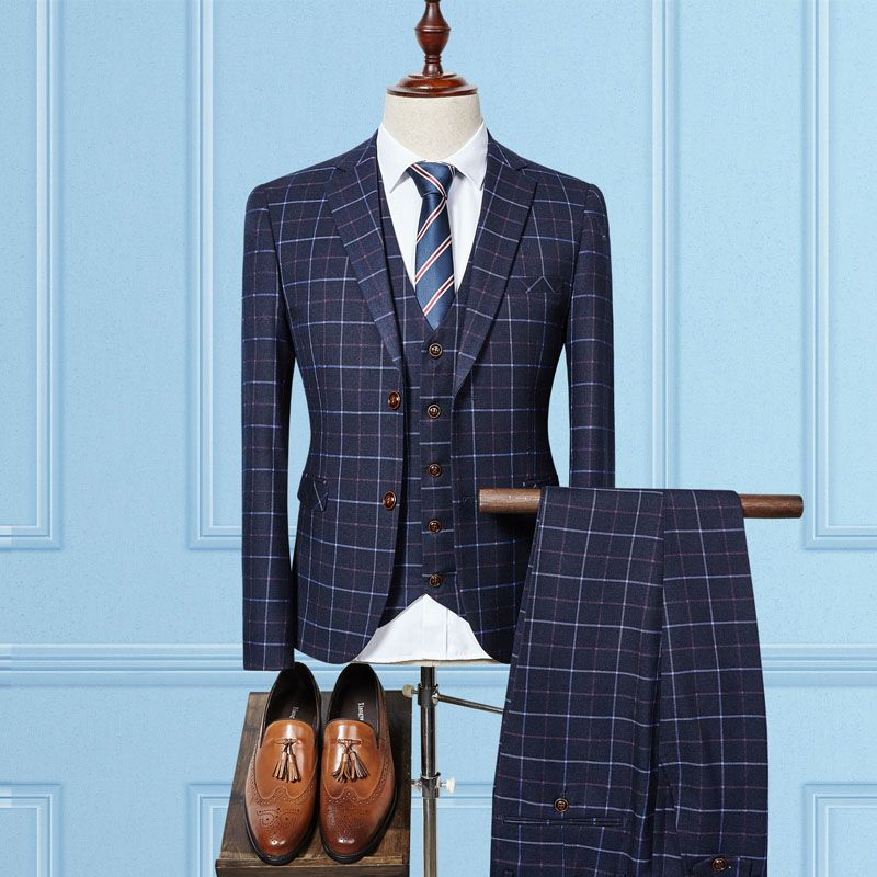 2018 New Fashion Arrival High Quality Single Breasted Plaid Casual Suit Men Business Suits Plus Size 3XL