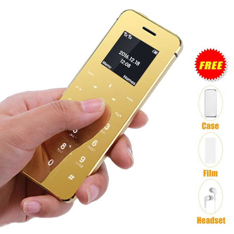 Ultra-mince carte de crédit téléphone portable métal corps bluetooth 2.0 dialer anti-perte FM mp3 double carte SIM mini téléphone mobile P052