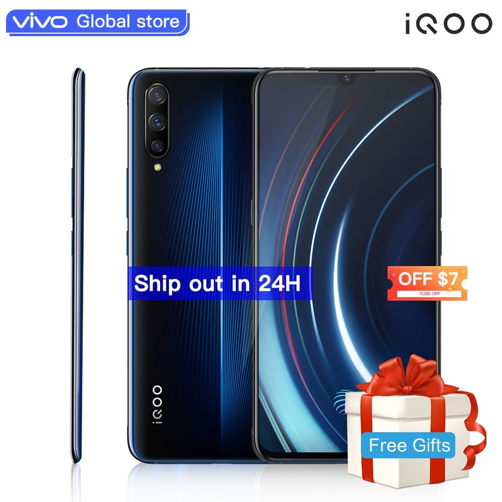Authorized vivo celular iQOO Mobile Phone Android 9 Snapdragon 855 NFC Type-C 4000mAh 44W Fast Charge Cool 4D Game Cellphone