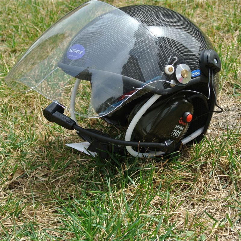 Real carbon material Paramotor helmet with noise cancel headset Factory directly sale free shipping