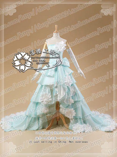 Vocaloid Miku Luxury Wedding Dress Cosplay Costume Halloween Uniform Party Dress Custom-made