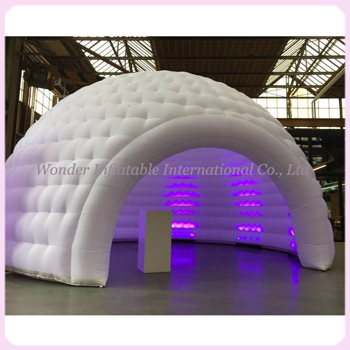 Popular multifunctional outdoor white space 5m-8mDiameter air dome shaped tent inflatable igloo tent with led lights